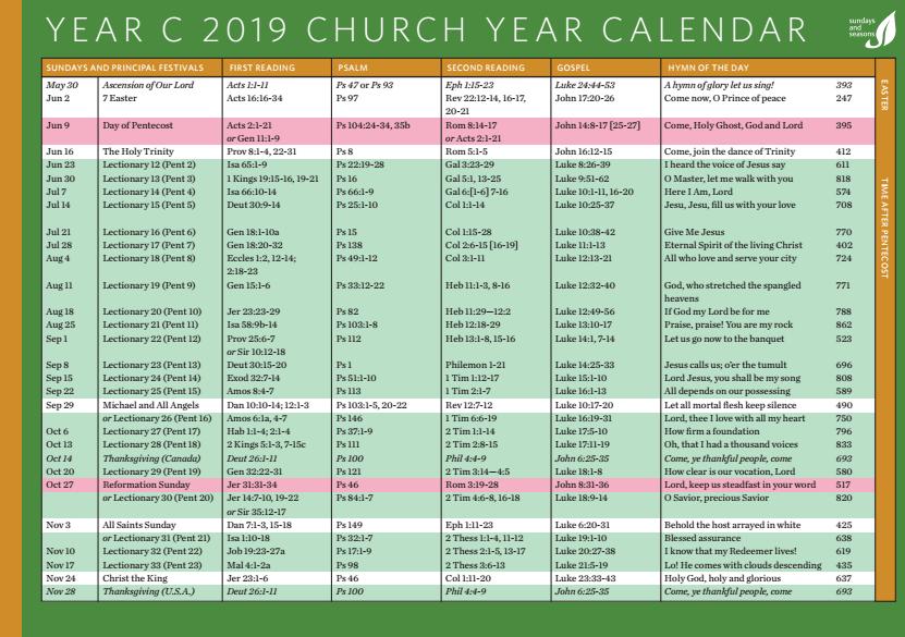 Church Calendar 2019 Year C 2019 Church Calendar